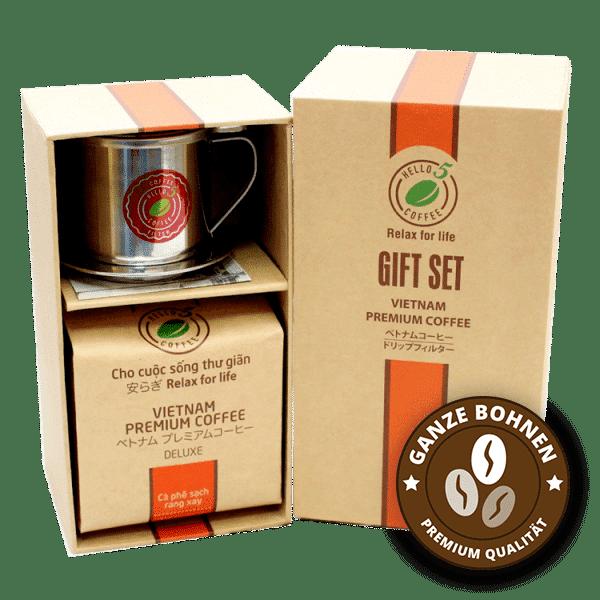Geschenkset vietnamesischer Kaffee Deluxe ganze Bohnen