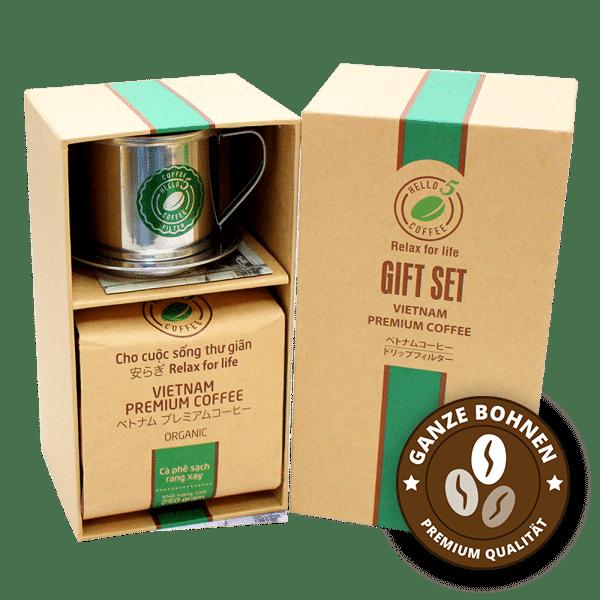 Geschenkset vietnamesischer Kaffee Organic ganze Bohnen