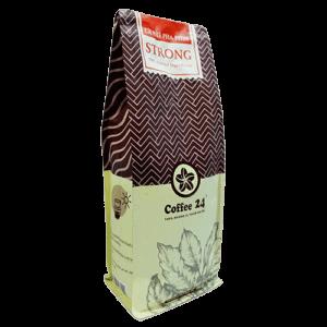Coffee 24 Strong Kaffeebohnen 500g Schräge Frontansicht