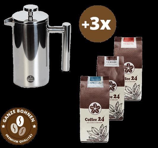 French Press Set mit Coffee24 Kaffeebohnen