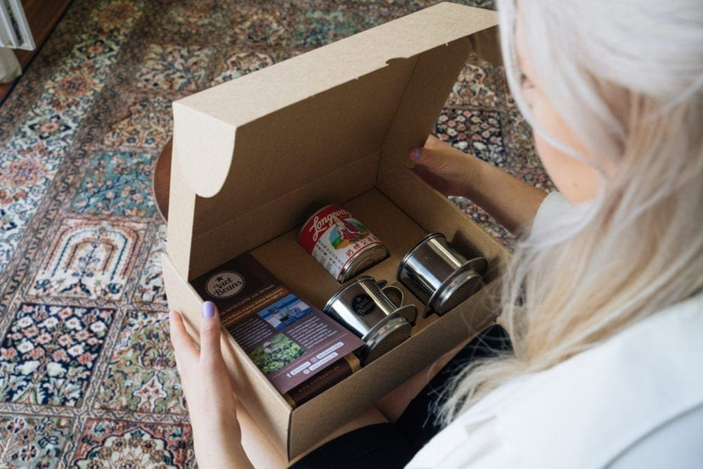 VietBeans-Geschenkset Kaffeeset Ansicht in das Paket