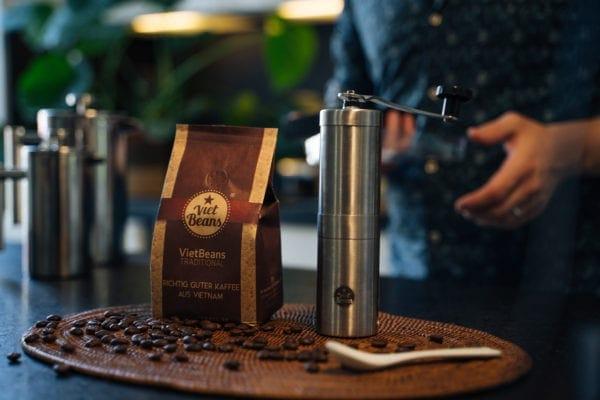VietBeans Kaffee mahlen Kaffeemühle Mahlgrad
