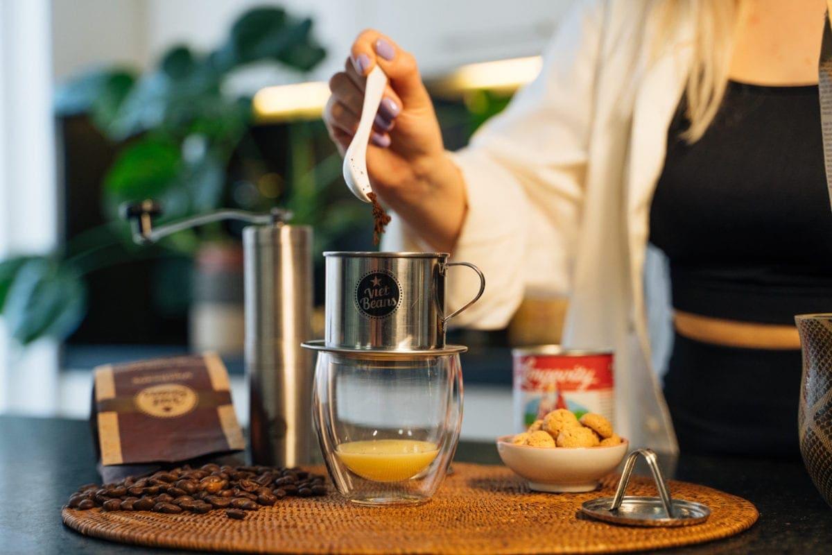 Phin Kaffee Handfilter aus Vietnam, traditionelle Kaffeezubereitung